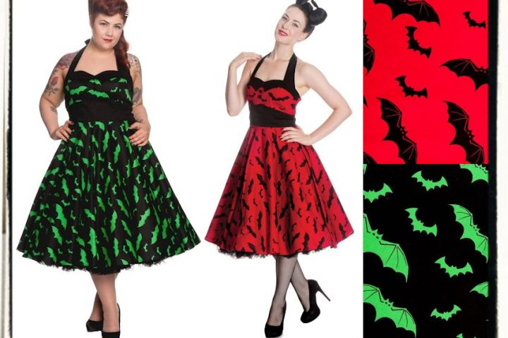 dress Bat 50s RED Hell Bunny rockabilly psychobilly pinup goth gothic punk rock horror halloween green swing FB