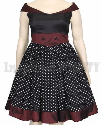 dress sailor Polka Dot off shoulder retro vintage pinup rockabilly psychobilly swing formal bridesmaid plus size 1