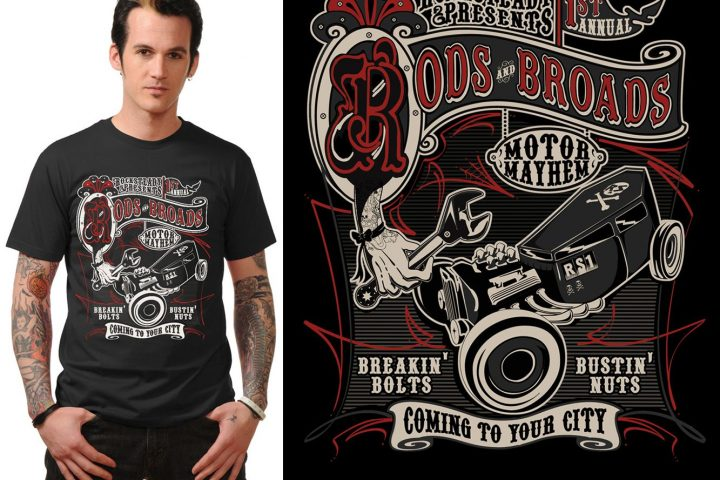 tee Hot Rods & Broads Mens slim fit t shirt Rock Steady Clothing tshirt psychobilly rockabilly 50s pinup sailor punk g