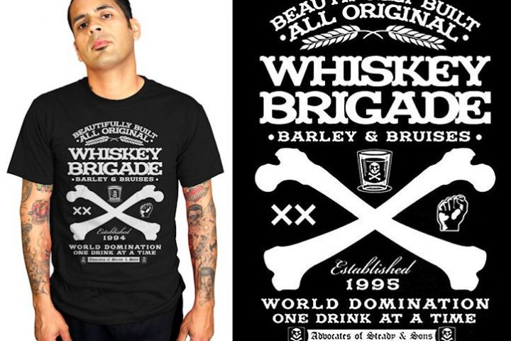 tee Whiskey Brigade Mens slim fit t shirt Rock Steady Clothing tshirt psychobilly rockabilly 50s pinup sailor punk FB