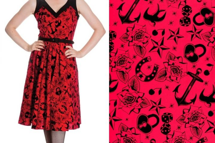 HELL BUNNY Liv ~ Rockabilly Red Tattoo Flash 50s Dress