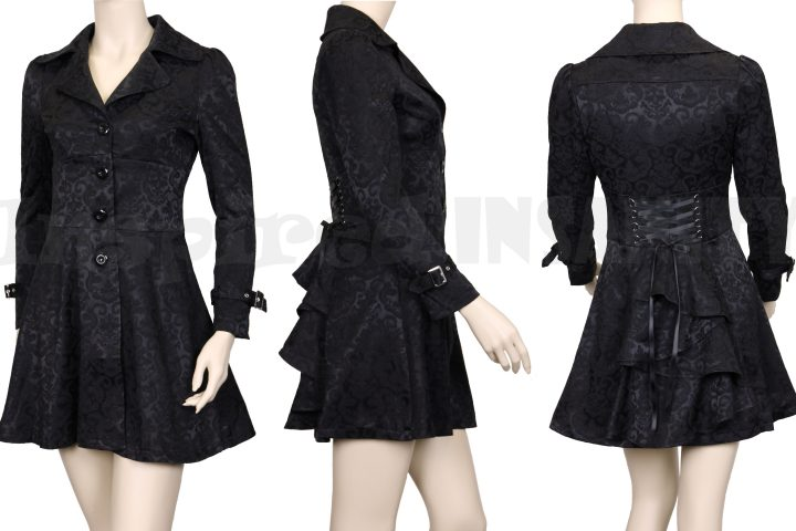 Steampunk Gothic Bustle + Corset Damask Jacket