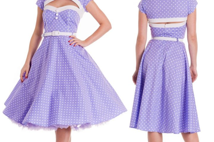 HELL BUNNY Melanie ~ Purple 50s Pinup Polka Dot Dress