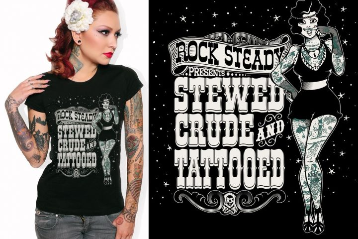 tee black Stewed Screwed and Tattooed ladies Rock Steady Clothing tshirt psychobilly rockabilly 50s pinup sailor punk G