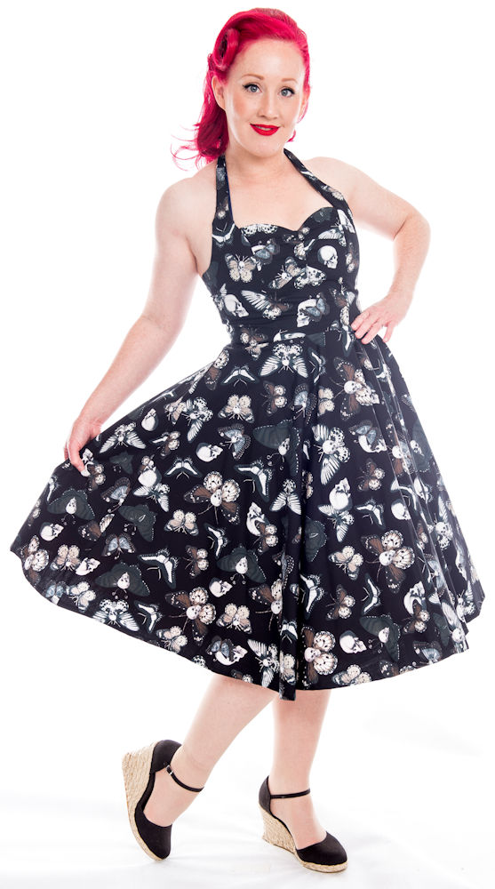 Details about Psychobilly DEATH MOTH Butterfly Skull Swing Dress ~ Gothic  Rockabilly Plus Size