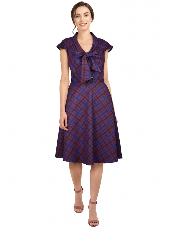 Retro Plum Plaid Pussy Bow Dress