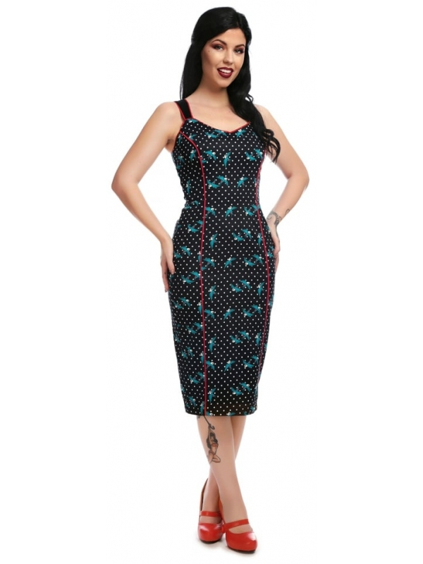 COLLECTIF Samira Swooping Swallows Pencil Dress