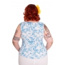 HELL BUNNY Danielle ~ Blue Floral Top